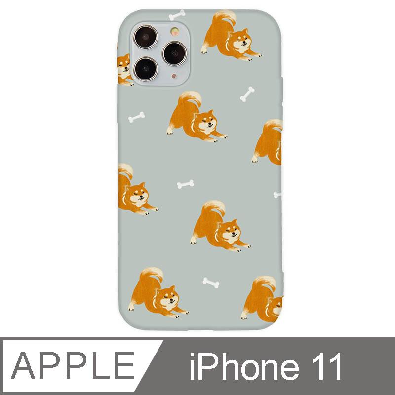 iPhone 11 6.1吋 萌寵碎花設計iPhone手機殼 伸懶腰柴犬 灰色