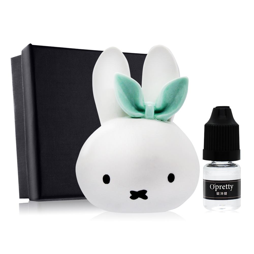O'Pretty 歐沛媞 室內/車用 香氛擴香石擺飾-小兔子-綠色蝴蝶結+擴香精油(鼠尾草)
