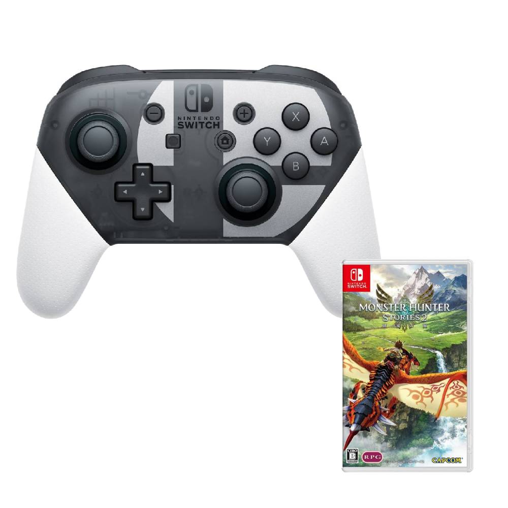 Nintendo Switch 明星大亂鬥 Pro控制器+魔物獵人 物語2:破滅之翼 中文版