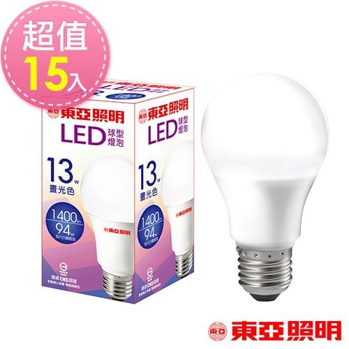 東亞照明 13W球型LED燈泡-白光15入
