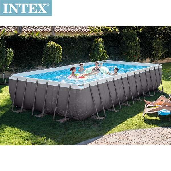 INTEX 長方型框架速搭大型游泳池(附砂濾水泵)732x366x132cm(31805L)適用6歲+(26361)
