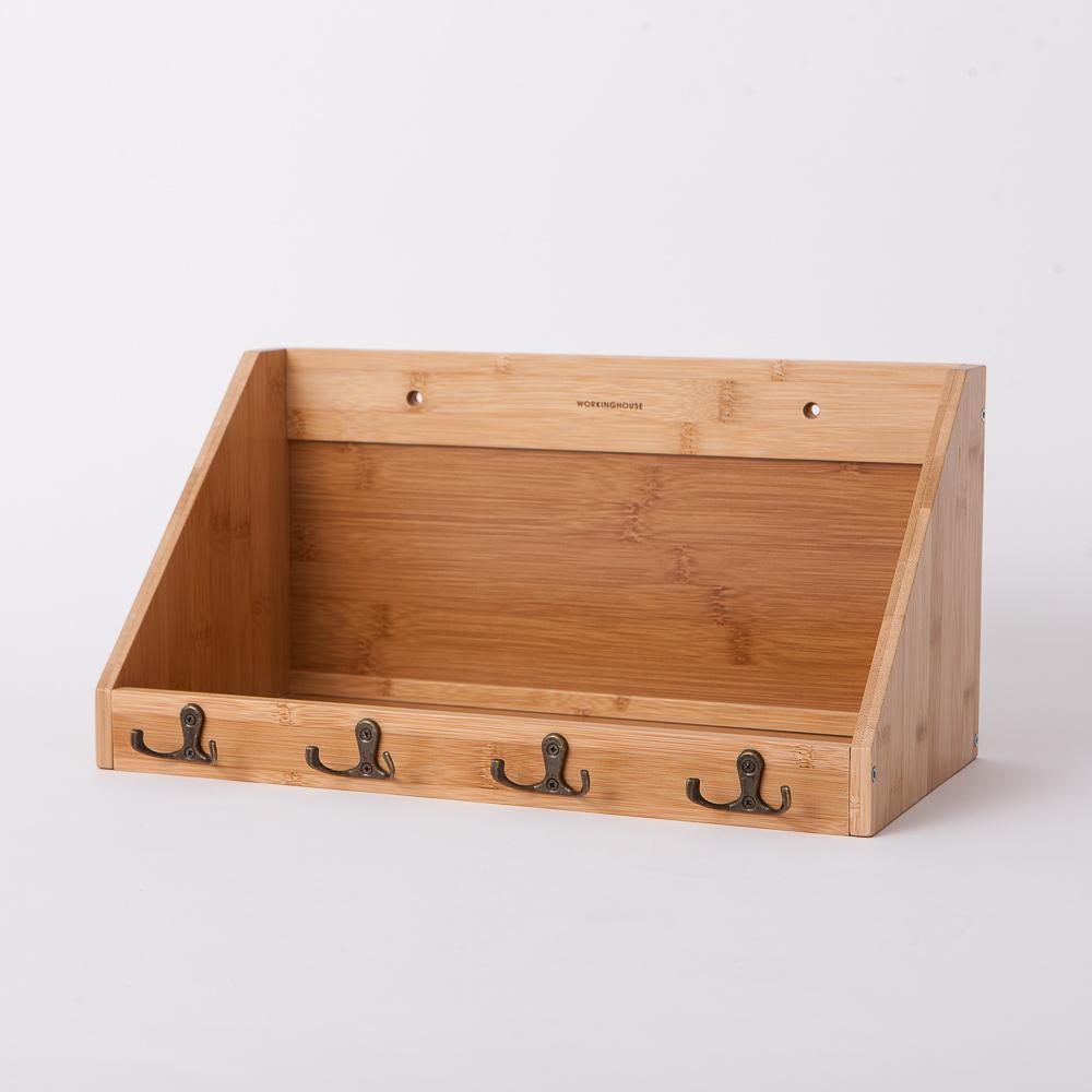 竹意壁掛四鉤收納盒-生活工場
