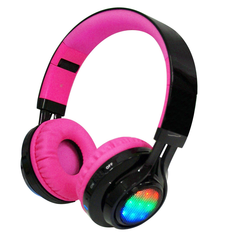 AB-005 全罩式LED炫光無線藍牙耳機麥克風(支援TF插卡/AUX音頻輸入)-黑桃色