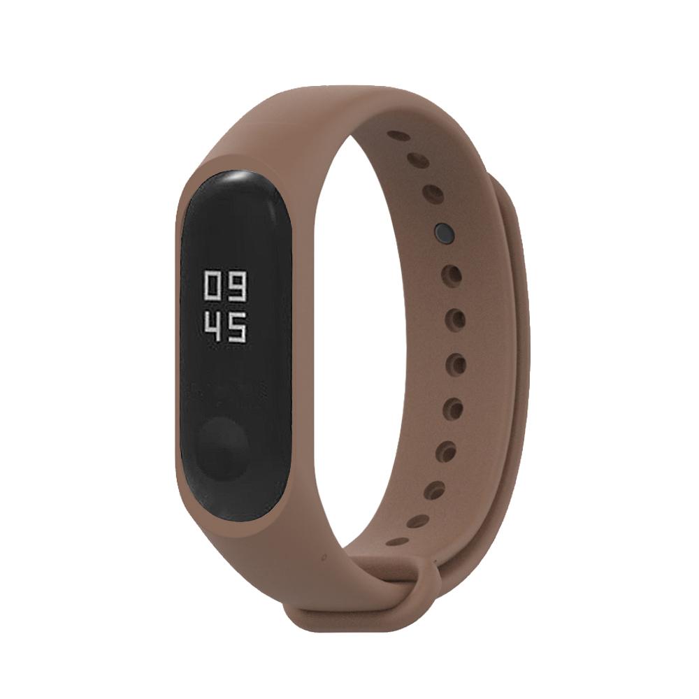 小米手環5代/4代/3代通用 矽膠運動替換錶帶-咖啡色