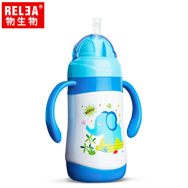 買1送1【香港RELEA物生物】300ml嬰幼兒學飲兩用保溫杯(天空藍)