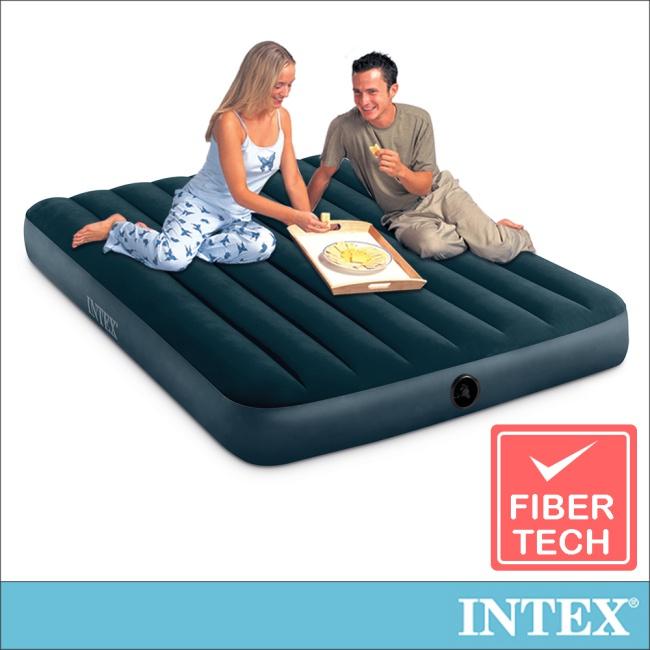 【INTEX】經典雙人(fiber-tech)充氣床墊(綠絨)-寬137cm(64733)