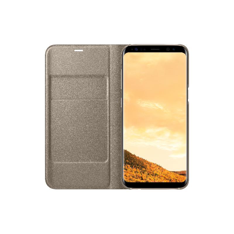 SAMSUNG Galaxy S8 LED皮革翻頁式皮套 金色