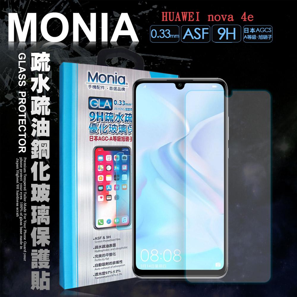 MONIA 華為 HUAWEI nova 4e 日本頂級疏水疏油9H鋼化玻璃膜(非滿版)