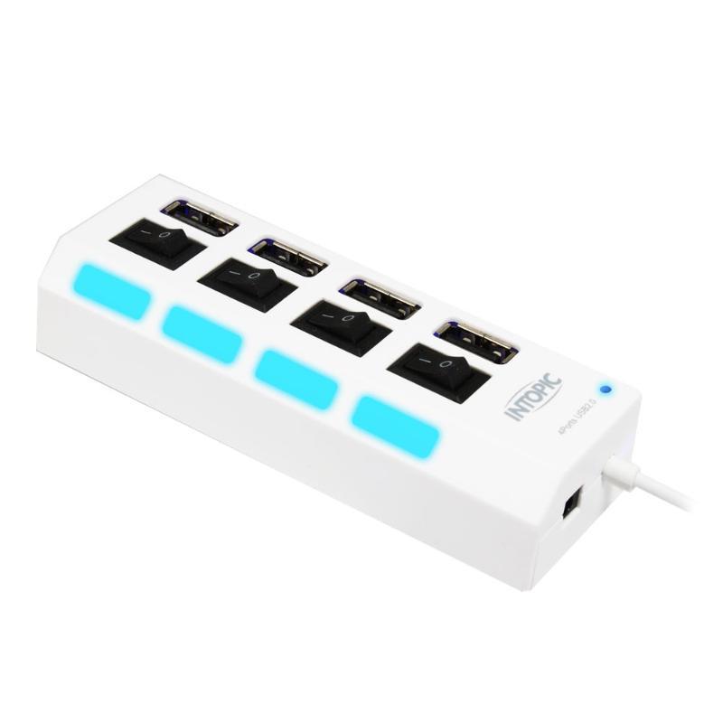 INTOPIC 4 Port 4開關+ 藍光指示 白