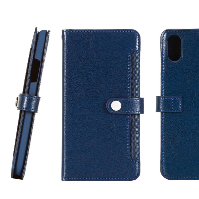 SIMPLE WEAR 前收納式側掀皮套iPhoneX 藍