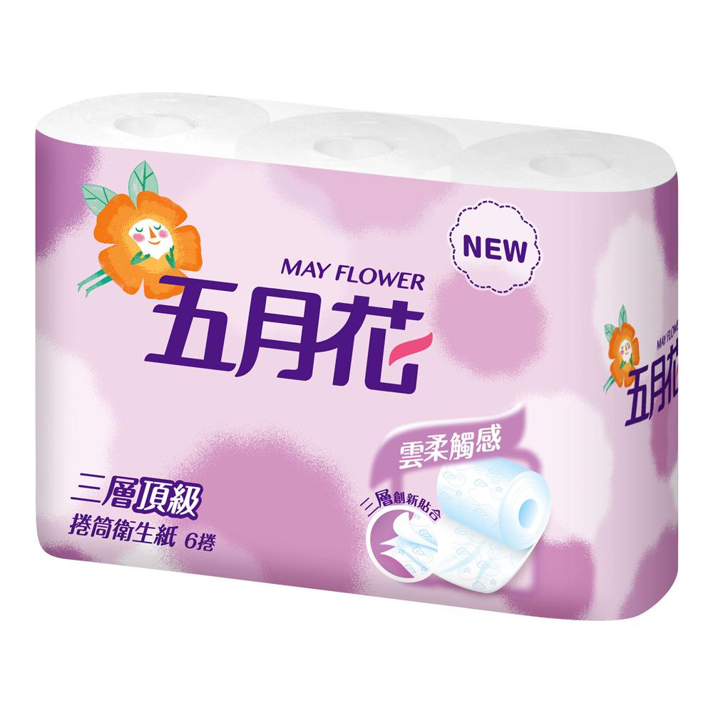 【五月花】三層捲筒衛生紙200張x6捲x16袋/箱