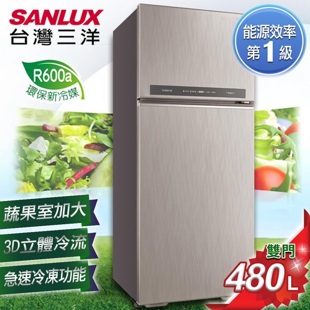 【SANLUX 台灣三洋】480L 一級能效變頻雙門冰箱 SR-C480BV1B 含原廠配送及基本安裝