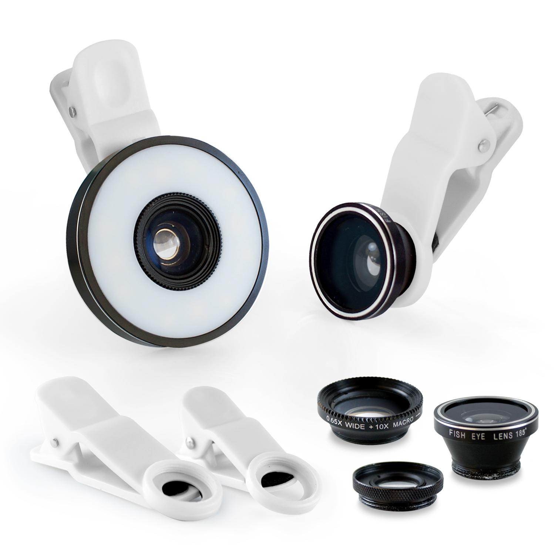 6合1 微距/廣角/魚眼 通用型補光燈夾式特效鏡頭-黑色