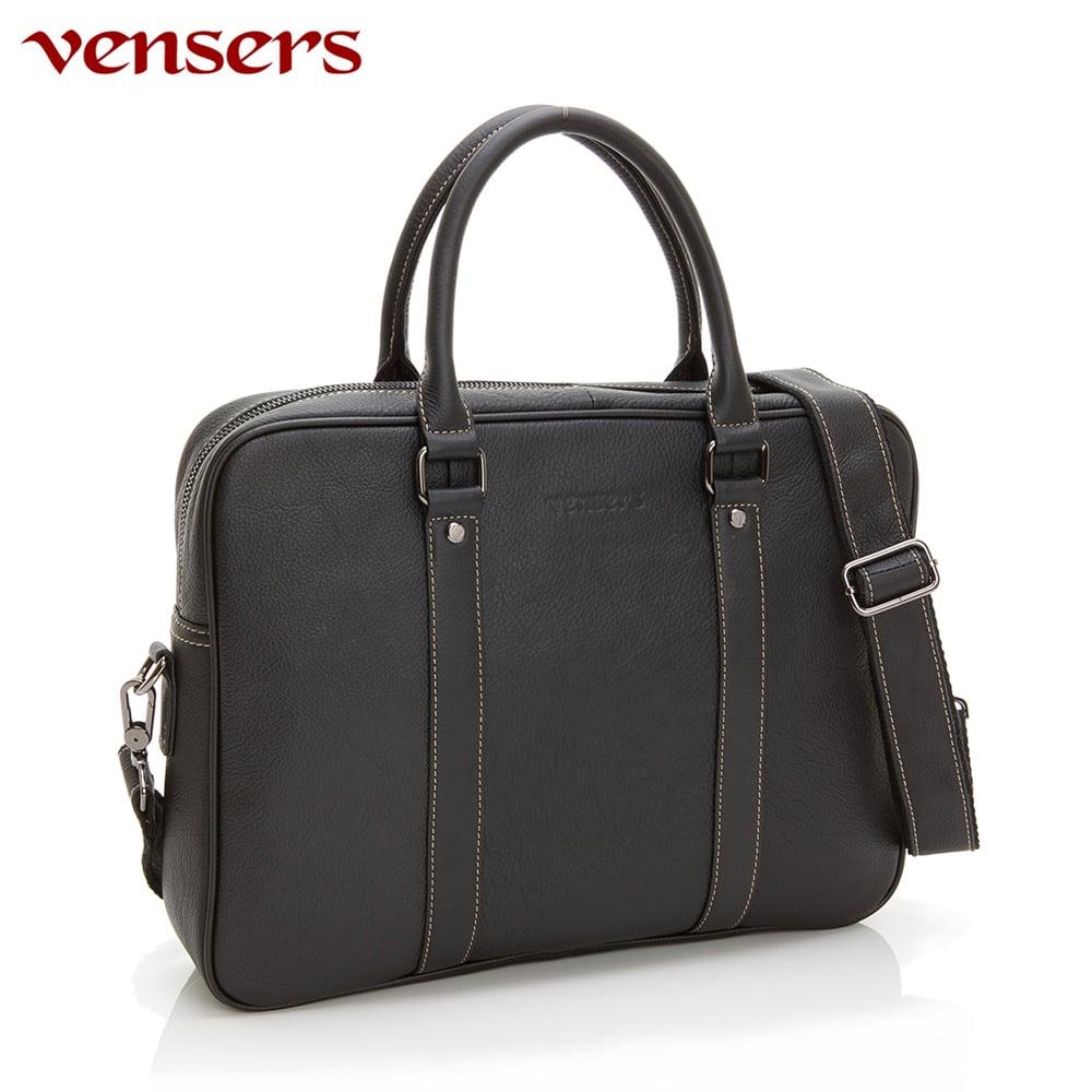 【vensers】小牛皮潮流個性包~兩用公事包(N036101黑色)