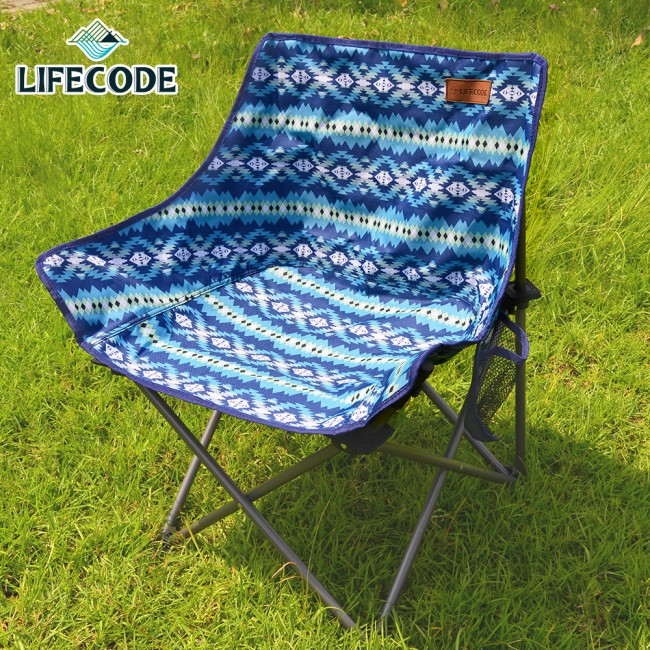 LIFECODE《美杜莎》加寬折疊椅-圖騰藍