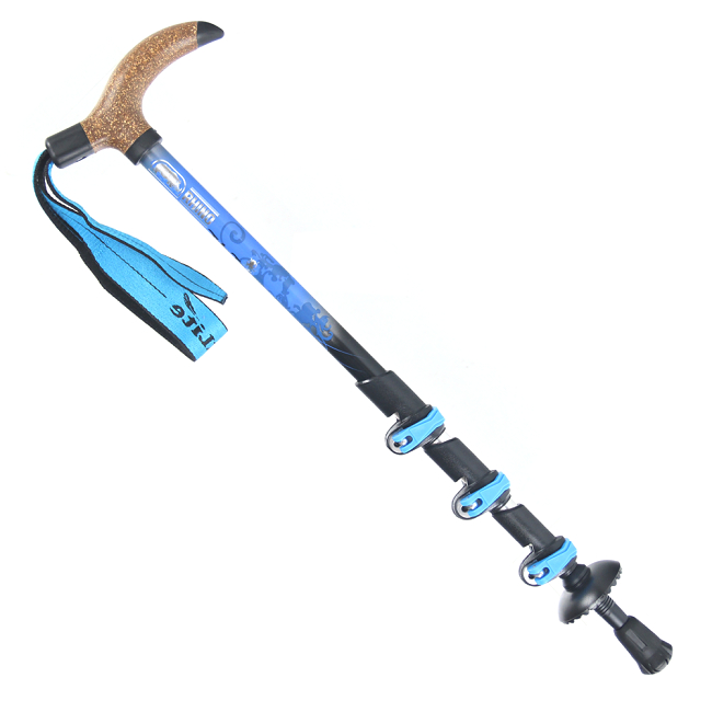 犀牛RHINO T型握把4節快扣登山杖(健行杖)-水藍彩繪