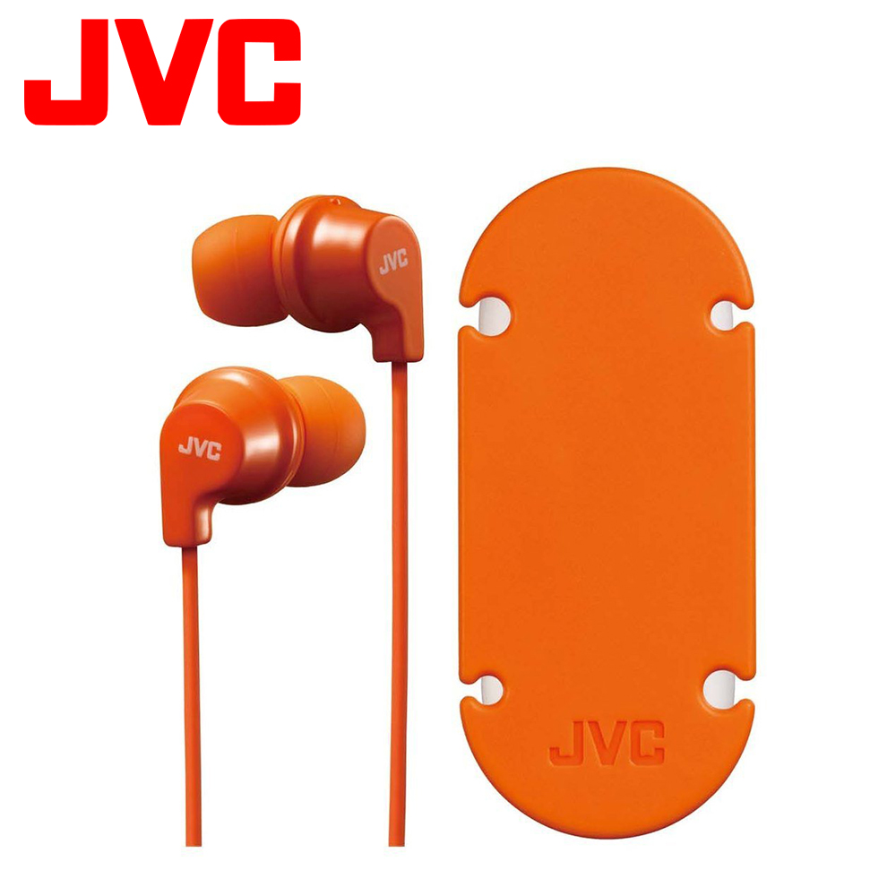 JVC 吸盤式捲線器入耳式耳機麥克風 HA-FR21 - 橘色