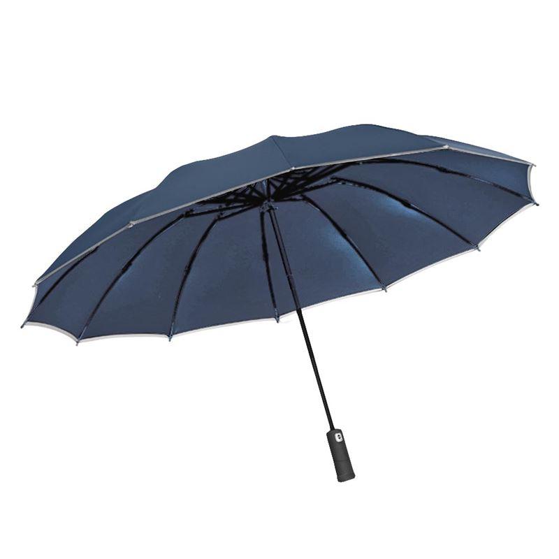 FJ LED全自動12骨反向折疊加大伸縮雨傘UV12藍色