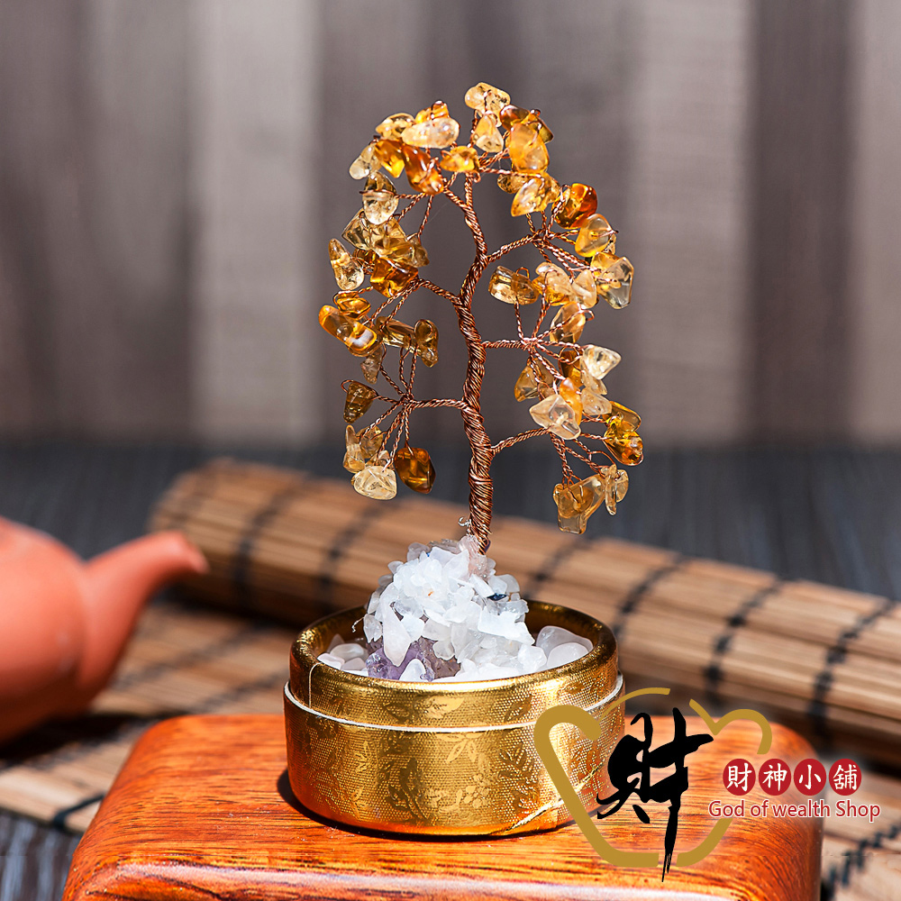 財神小舖 精巧水晶發財樹 黃水晶(小) (含開光) EM-7002