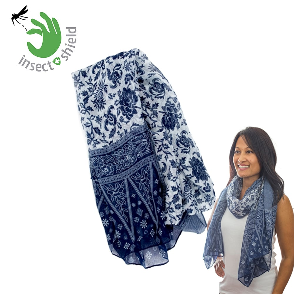【美國insect shield】 多功能防蚊蟲圍巾披巾-藍色