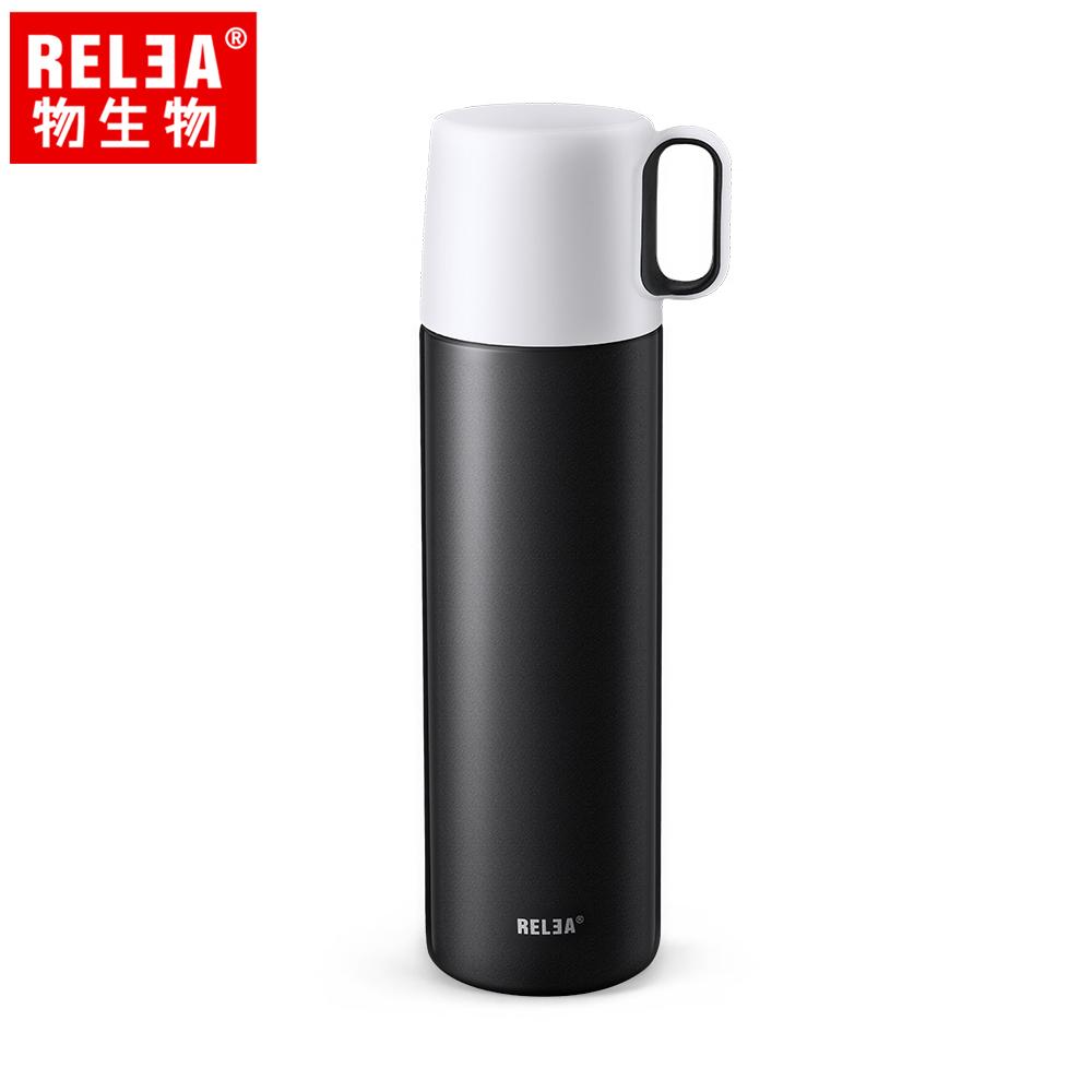 【香港RELEA物生物】500ml一蓋兩用FreeDom雙層真空保溫杯(黑色)