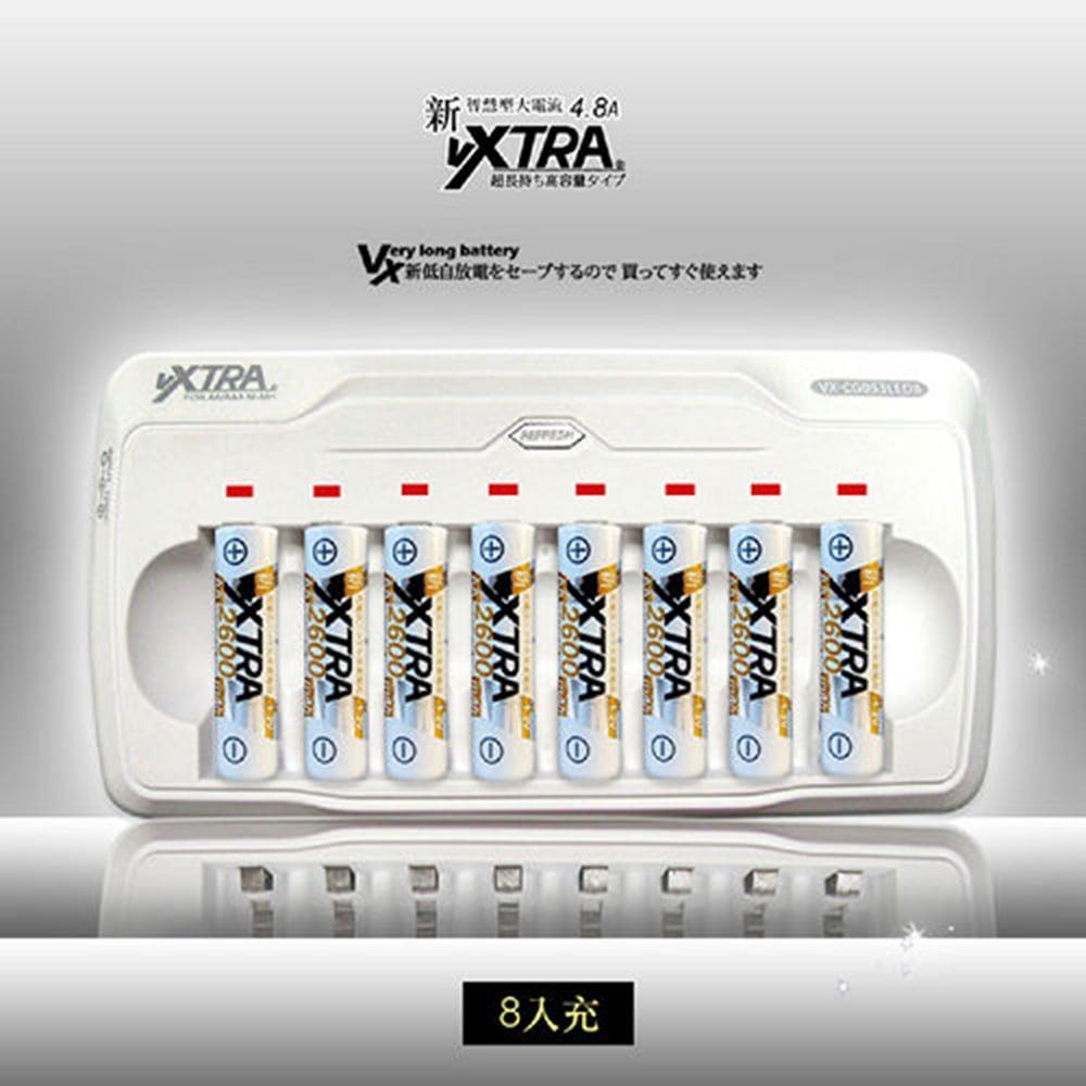 VXTRA LED智慧型八入充電組(附3號AA2600mAh電池8入)