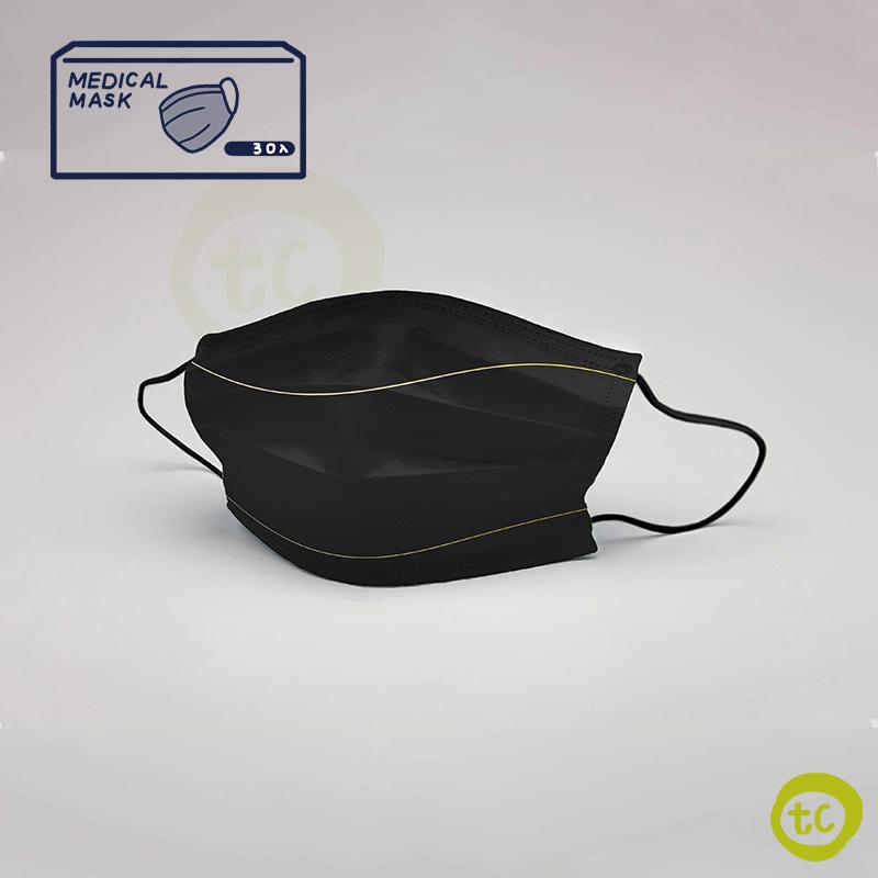 【台衛】雙鋼印口罩 細金邊純黑款 共2盒(30入/盒)