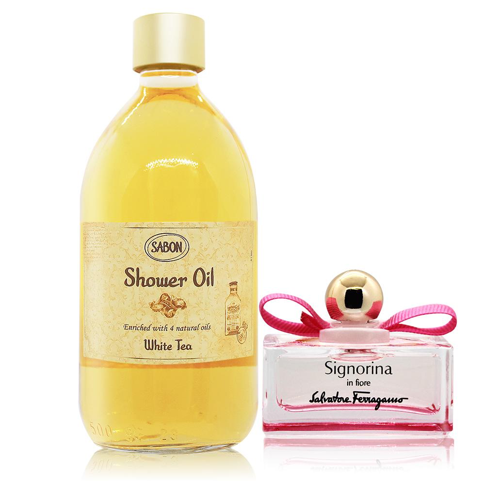 SABON 白茶沐浴油(500ml)-國際航空版-贈花漾伊人小香(5ml)