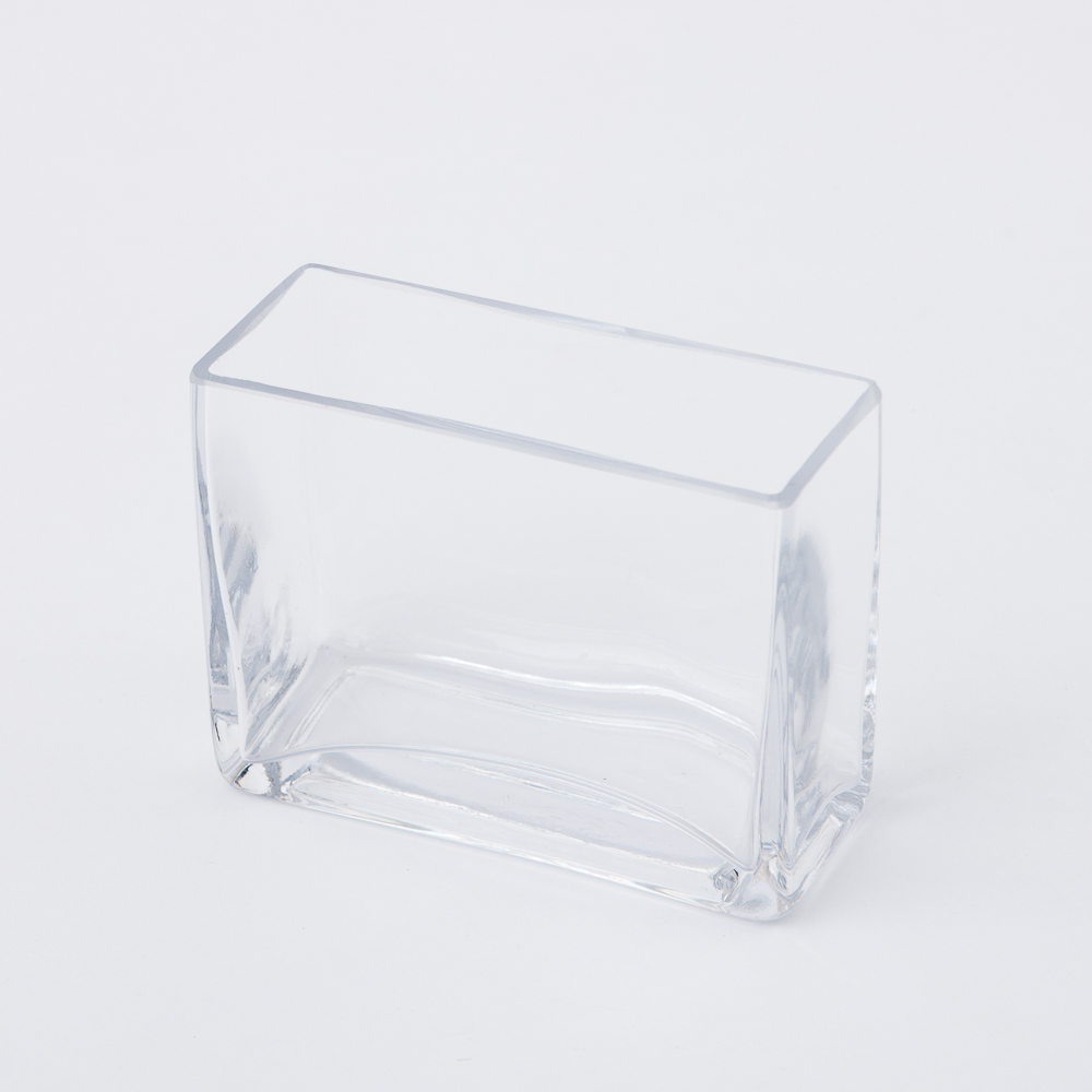 Clear長方手工花瓶H10cm-生活工場