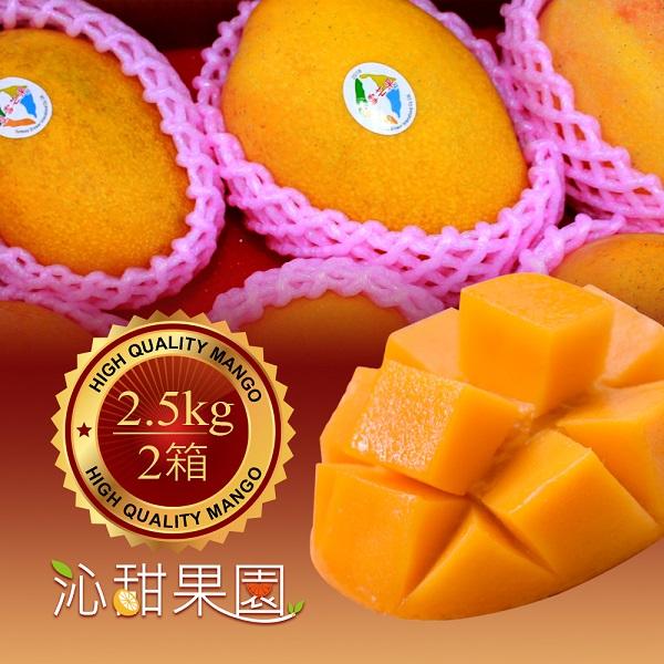 預購《沁甜果園SSN》屏東夏雪芒果5-6顆裝-2.5kg,(共二箱)
