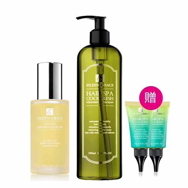 妍霓絲 髮根豐盈沁涼SPA洗髮精500ml+護髮油50ml+贈頭皮敷膜20mlx2入
