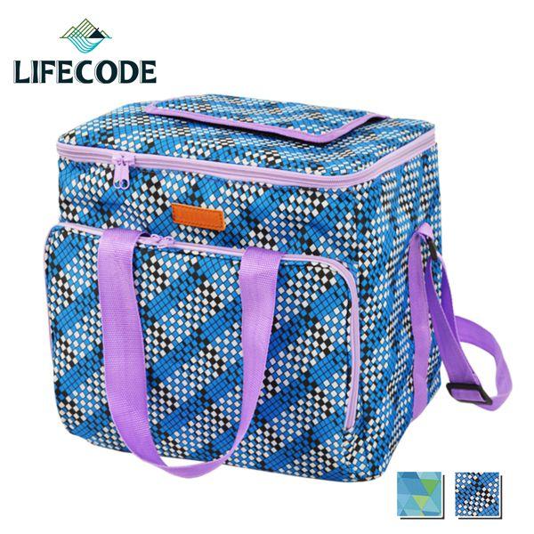 【LIFECODE】法頌肩背野餐保冰袋/保冷袋/保溫袋-格子藍