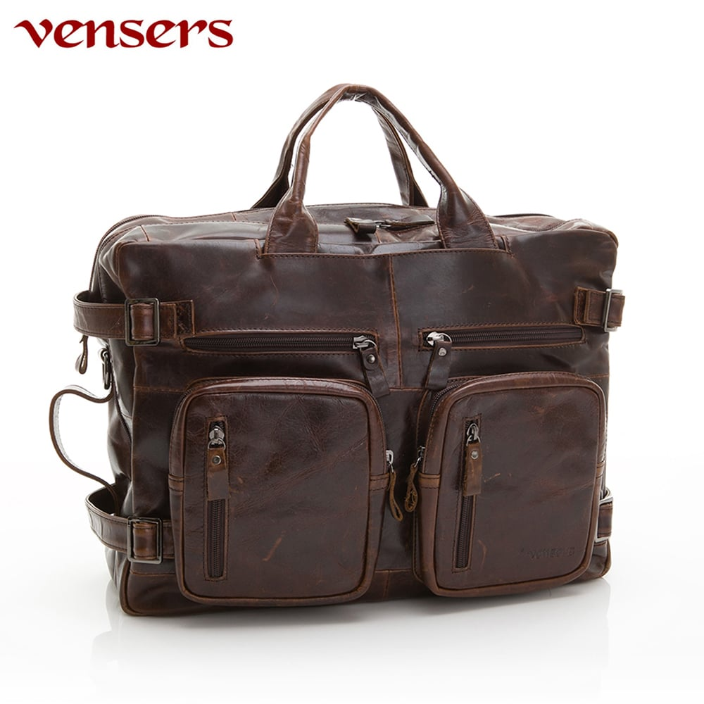 【vensers】小牛皮潮流個性包~多功能包(NE991101深咖啡)