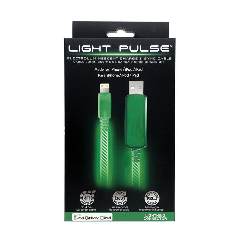PILOT EL發光 MFi認證 APPLE充電傳輸線 90cm-綠