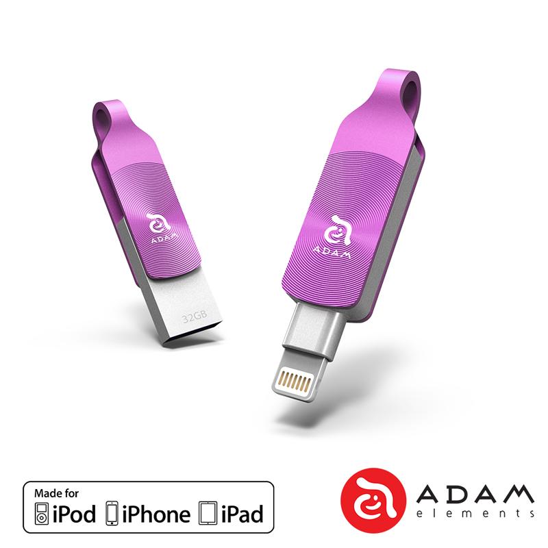 ADAM iKlips DUO+ 32GB 蘋果iOS USB3.1雙向隨身碟 - 紫