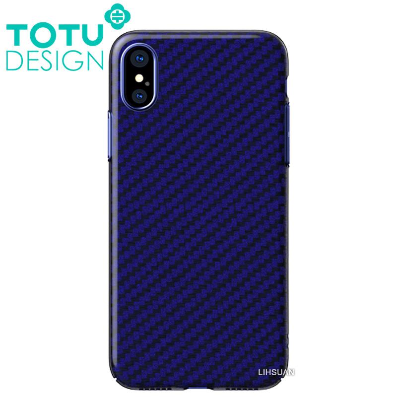 【TOTU台灣官方】iPhoneX碳纖紋手機殼 雅典娜系列 藍色
