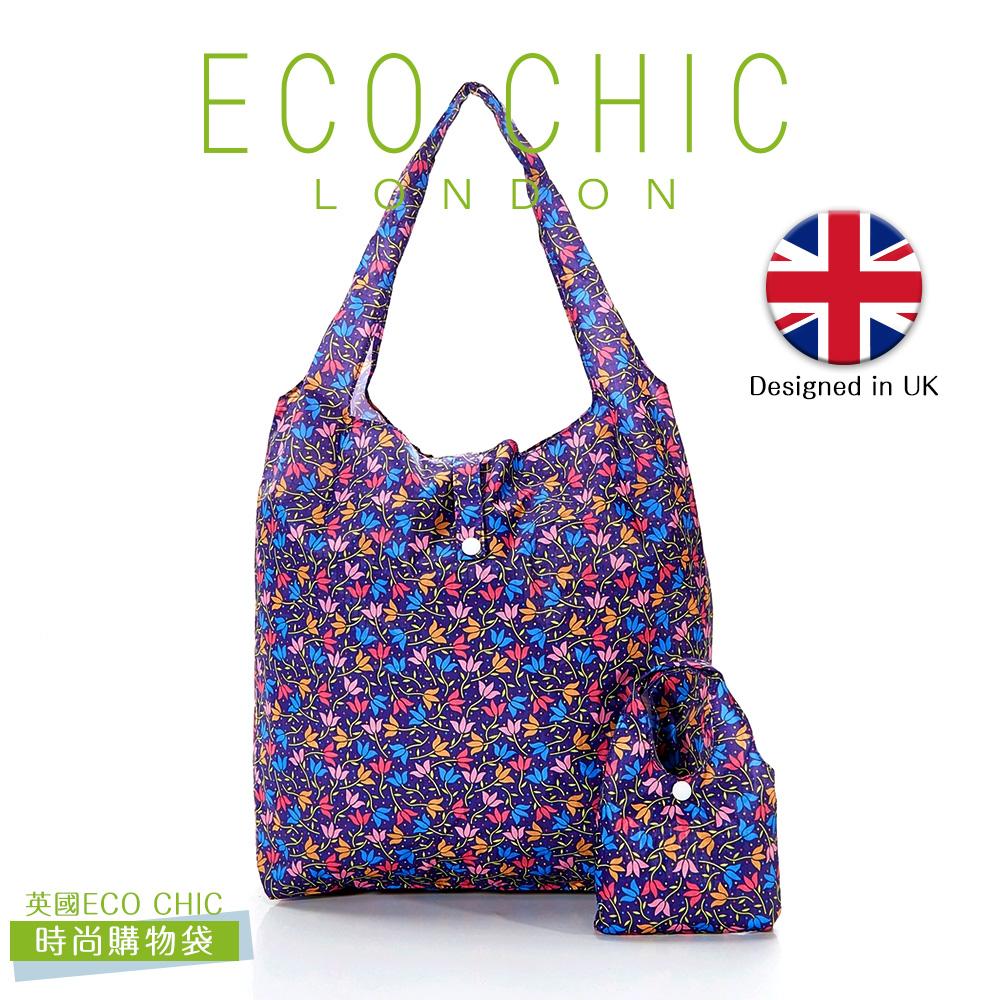 英國ECO CHIC時尚可折疊購物袋(花漾紫)X2