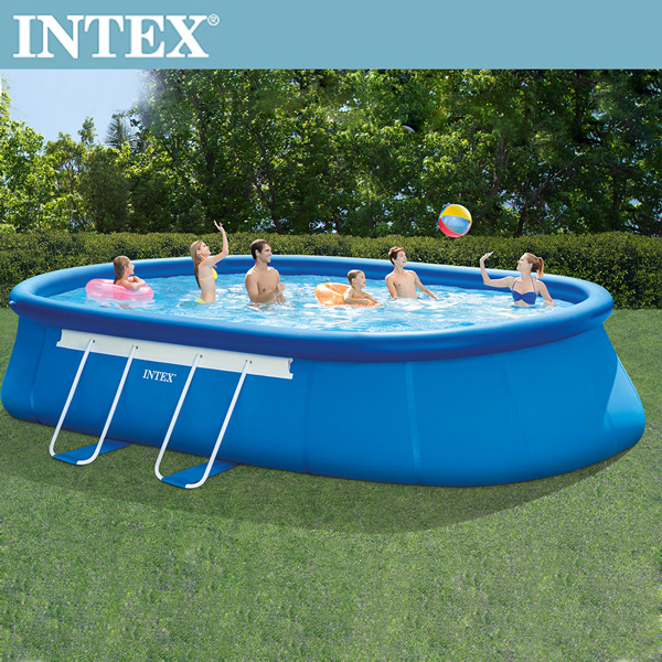 INTEX 橢圓簡易裝EASY SET大型游泳池-濾水泵(26193)+送電動幫浦(66619E)