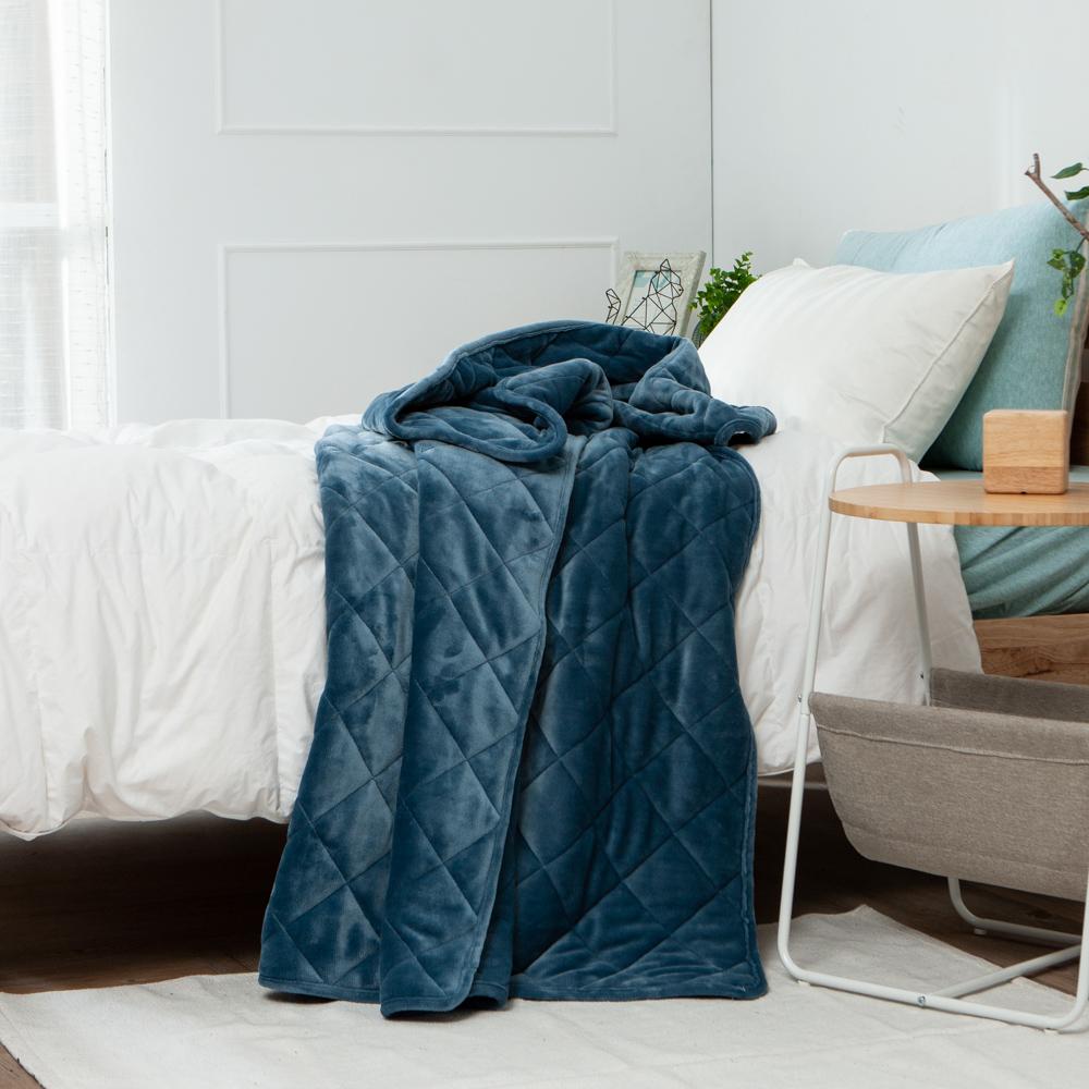 星宙藍雙層舖棉法蘭絨毯130x180-生活工場