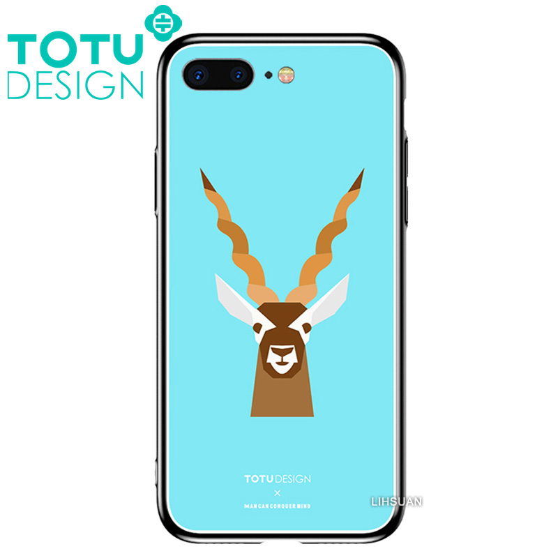 【TOTU台灣官方】鋼化 玻璃 背板 iPhone7 iphone8 i7 i8 4.7吋 手機殼 防摔殼 四角 全包 軟邊 掛繩孔 可愛 梅花鹿