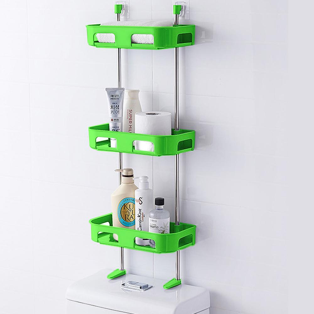 收納層架置物架 無痕多功能廚房衛浴置物架//綠色【三層】