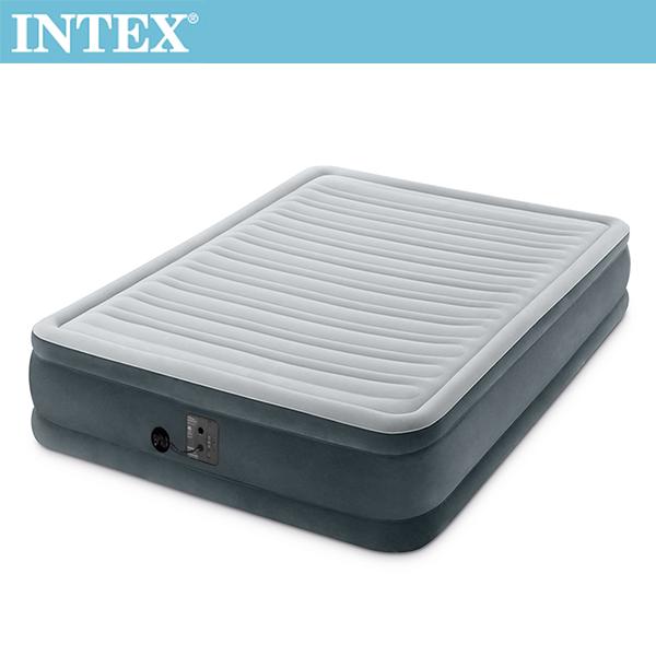 【INTEX】豪華型橫條內建電動幫浦充氣床-雙人-寬137cm(FIBER TECH)(67767)