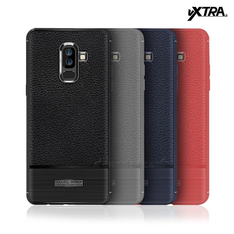VXTRA Samsung Galaxy J8 防滑手感皮紋 軟性手機殼 (暗藍)