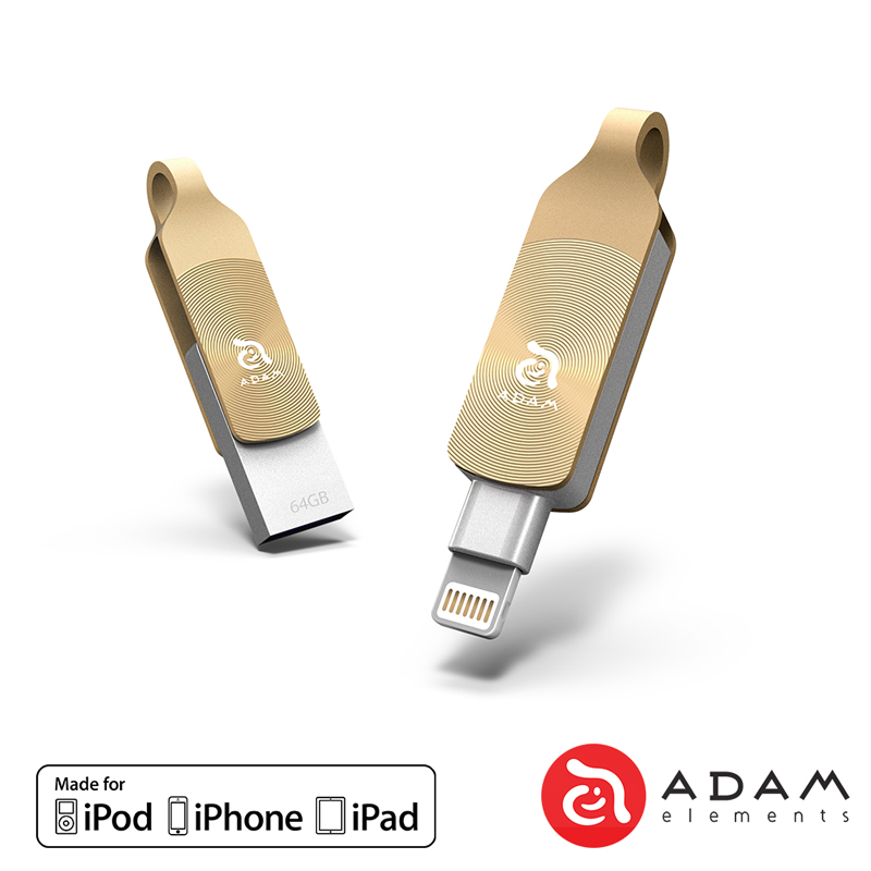 ADAM iKlips DUO+ 64GB 蘋果iOS USB3.1雙向隨身碟 - 金