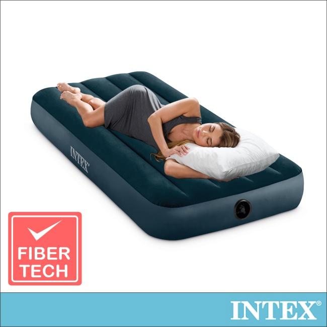 【INTEX】經典單人型(fiber-tech)充氣床墊(綠絨)-寬76cm(64731)