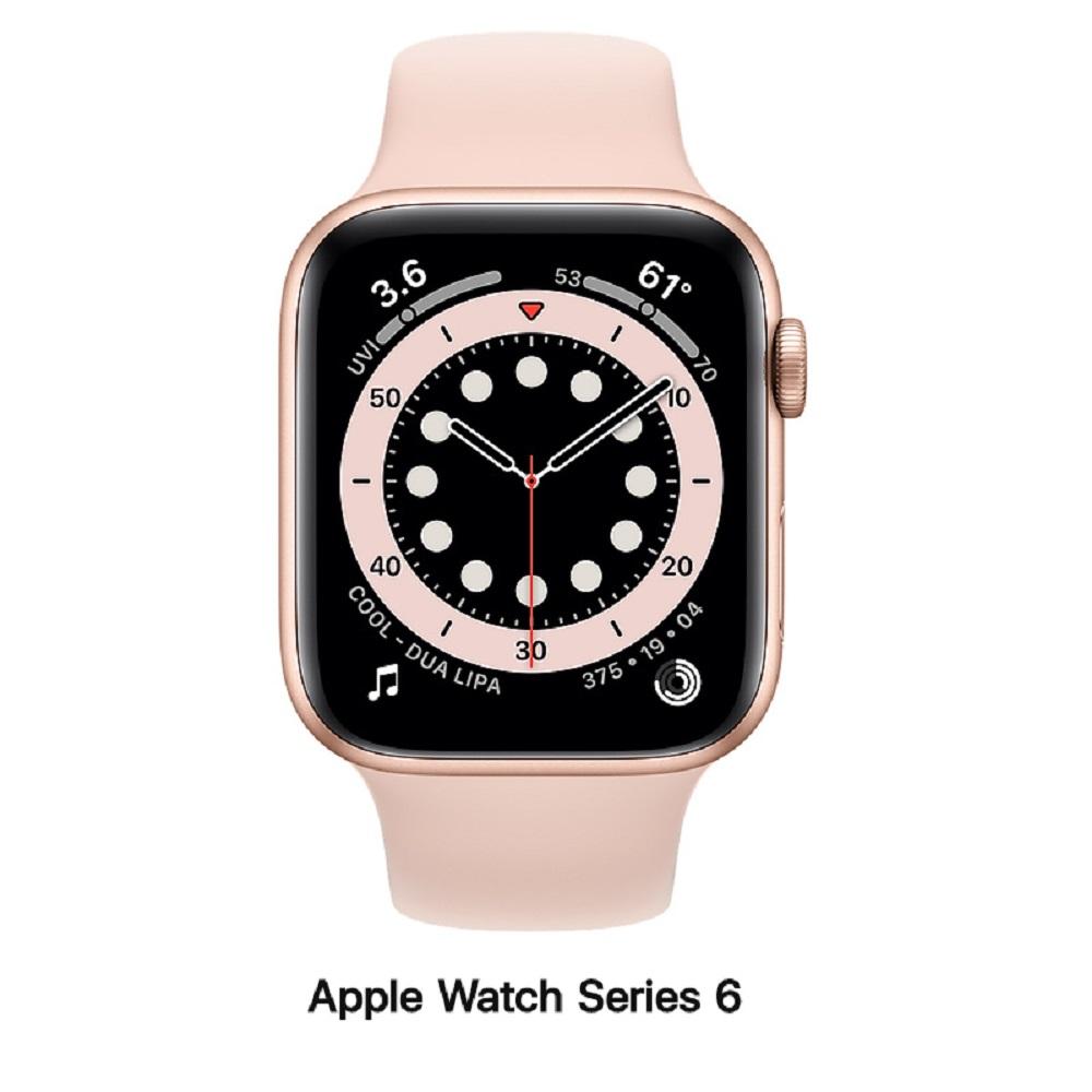 【血氧檢測】Apple Watch S6 44mm GPS版 金色鋁錶殼配粉沙色運動錶帶(M00E3TA/A)