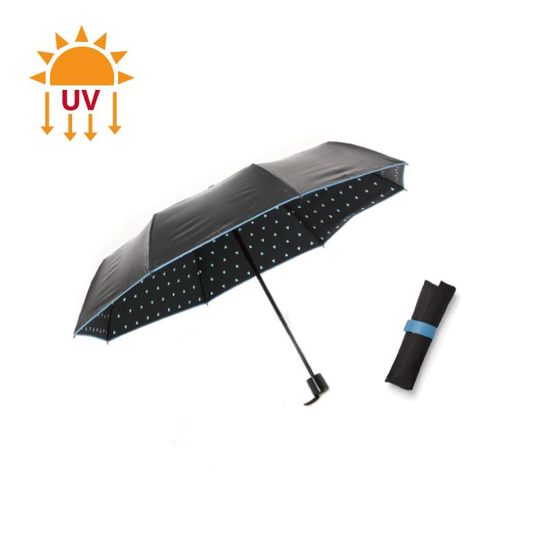 零透光黑膠晴雨手開傘-愛心水漾藍