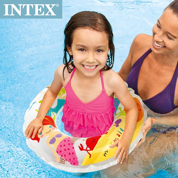 【INTEX】卡通游泳圈 61cm(圖案隨機) 適用:6~10歲(59242)
