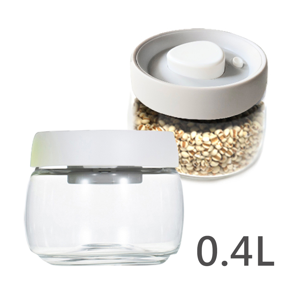 Timemore真空保鮮玻璃密封罐-白蓋 400ml