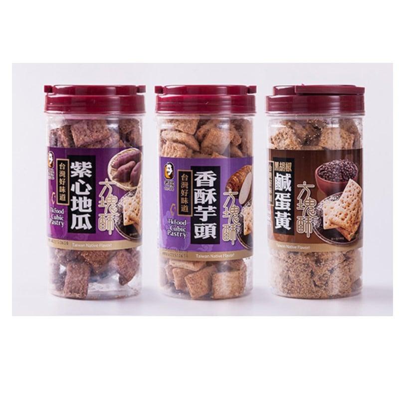 老楊黑胡椒鹹蛋黃方塊酥370G*6罐+芋頭方塊酥370G*3罐+紫心地瓜方塊酥370G*3罐(箱)